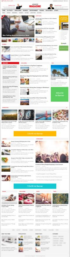 Advanced Magazine WordPress News Theme : HappyThemes