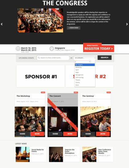 Frontpage Slider - Search - Events