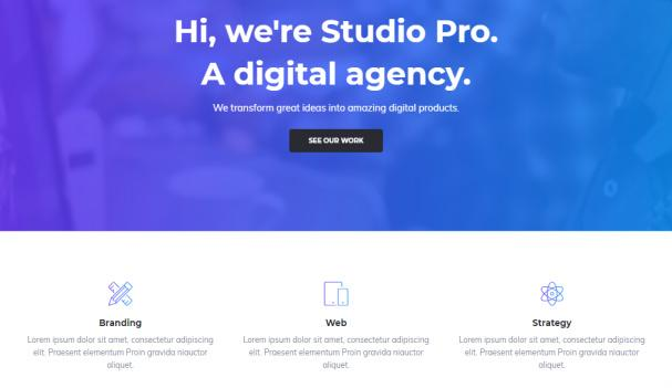Hero and Widget Section - Studio Pro Homepage