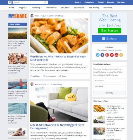 HappyThemes MyShare : Best WordPress Blogging Theme