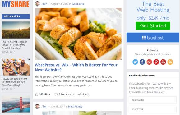 Sidebar and Featured Post Layout - MyShare Frontpage