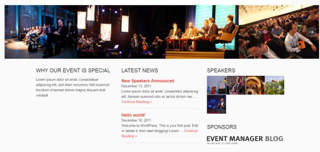 Slider Rotator and Widgets - Event Manager Homepage