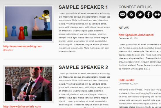 Speaker Listing - Event Manager Showthemes