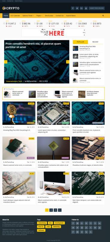 Crypto WordPress Cryptocurrency Theme : Mythemeshop