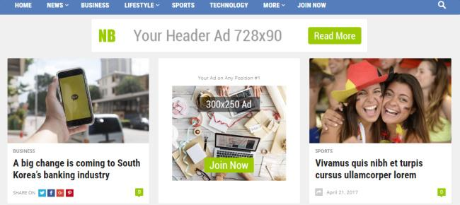 Featured Post and Ad Banners - NewsBlock HappyThemes