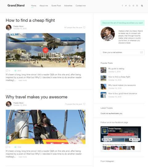Grandstand Teslathemes : Premium Blog WordPress Theme