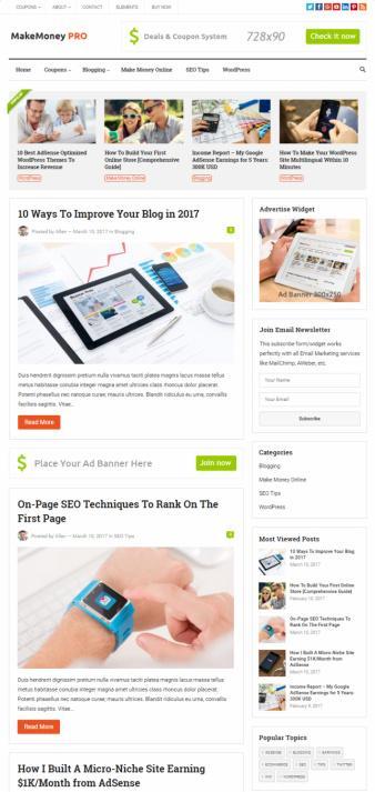 MakeMoney Pro – Premium WordPress Blog Deans Coupon Theme