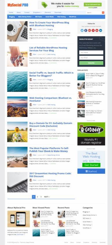 HappyThemes MySocial : Best Blog/ Magazine WordPress Theme