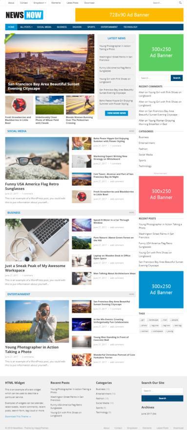 NewsNow WordPress Blog News Magazine Theme - HappyThemes