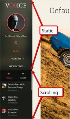 Sidebar Logo Navigation Menu and Widgets - Voice Theme