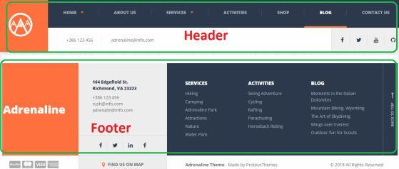 Header Footer - Layout Adrenaline ThemeIsle