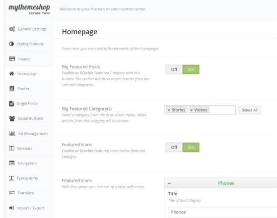Options Panel - Interactive Blog Theme