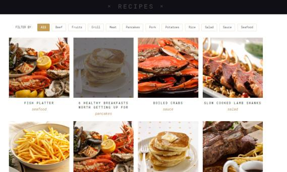 Recipes Page - Salt and Pepper Theme