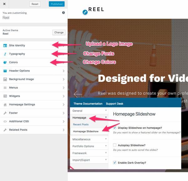 Reel Customizer Options Panel
