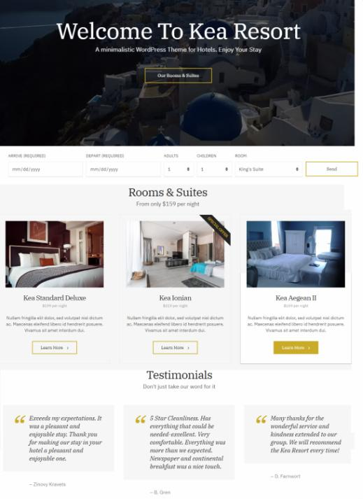 Frontpage Hero and Featured Elements - Kea Theme