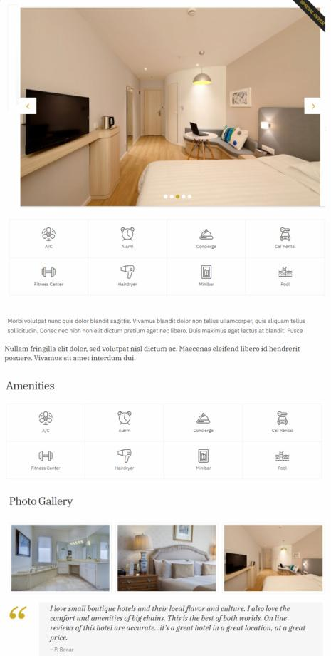 Single Rooms Listings - Kea Hotel Template
