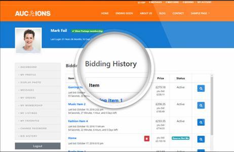 Bidding History - Profile Section