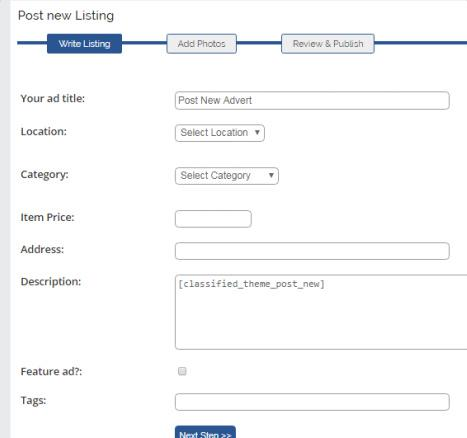Classified Ad Theme - Post Listing