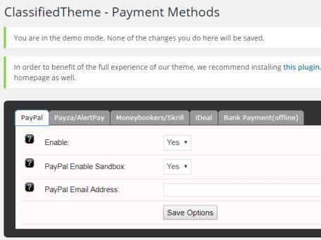 ClassifiedTheme - Payment Methods