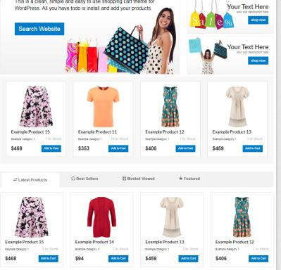 Featured Items - Shopping Cart Homepage