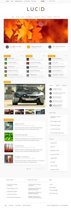 Lucid Magazine/Blog WordPress Theme : Elegant Themes