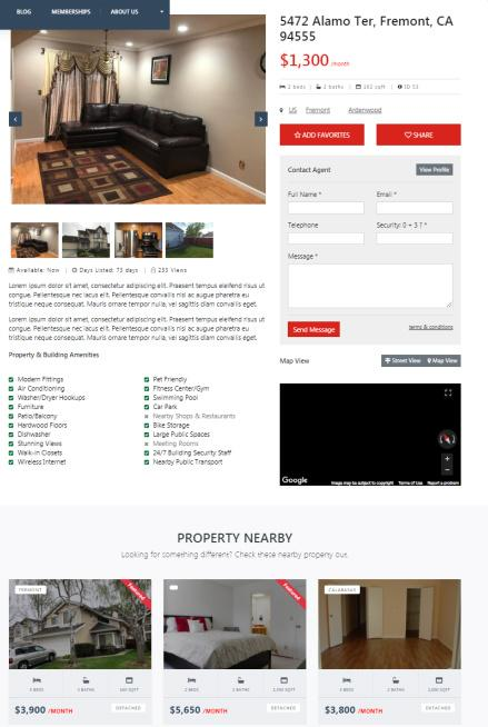 Real Estate Single Listing Page and Agent Contact Form