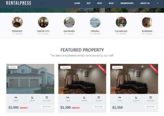 Real Estate Theme Header and Homepage