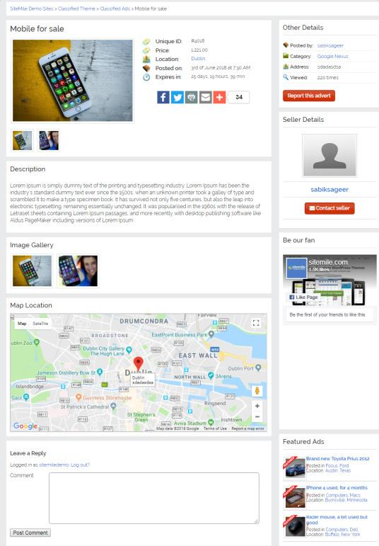 Single Classified Ads Listing Preview