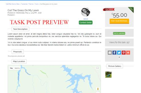 Task Post Preview - TaskerDev SiteMile