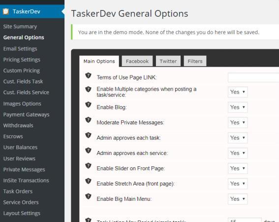 TaskerDev Main Theme Options