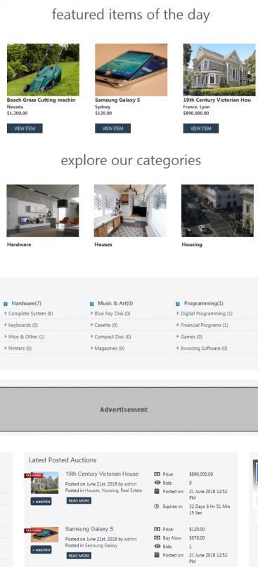 Auction - Frontpage Contents