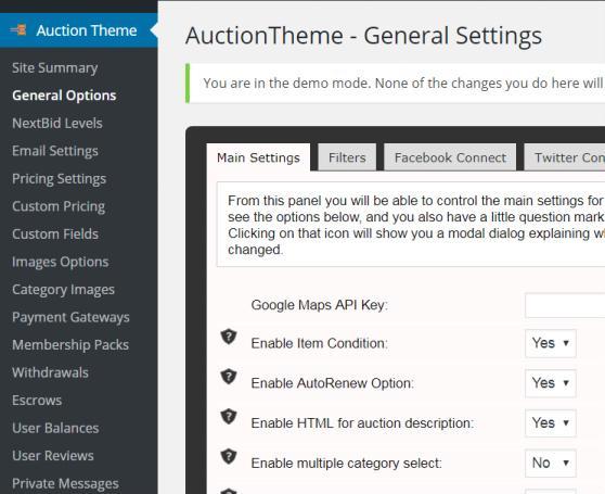 Auction SiteMile - Main Options