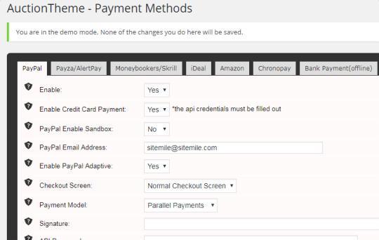 Auction Theme - Payment Gateway Methods