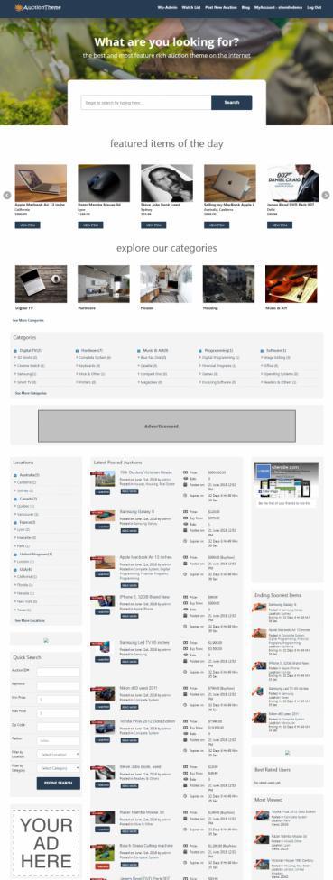 Responsive Auction WordPress Theme / Script : SiteMile