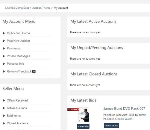Auction - User Profile Dashboard