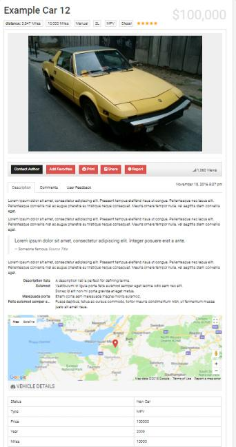 Car Dealer Theme - Single Listing Page