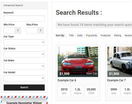 CarDealer PremiumPress - Search Options