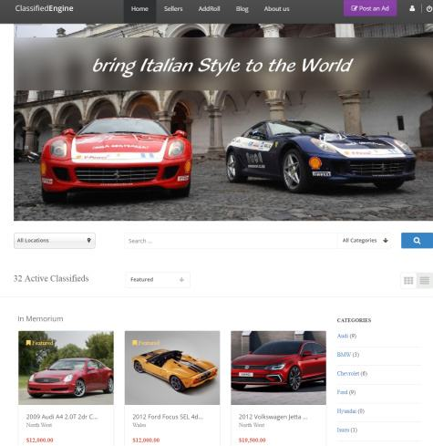 ClassifiedEngine Header and Frontpage
