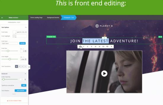 Thrive Architect - Front-End Editing