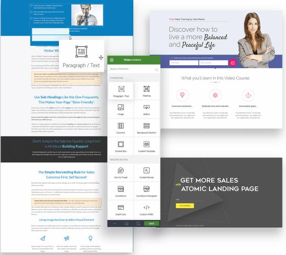 Thrive Architect Sales Landing Page Options
