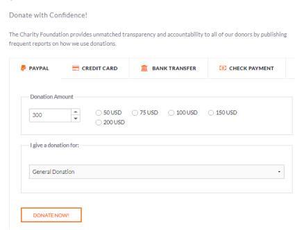 Charity - Donation Options