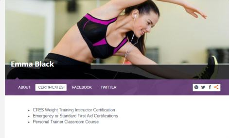 FitnessLife - Profile Page For Fitness Instructor Trainer