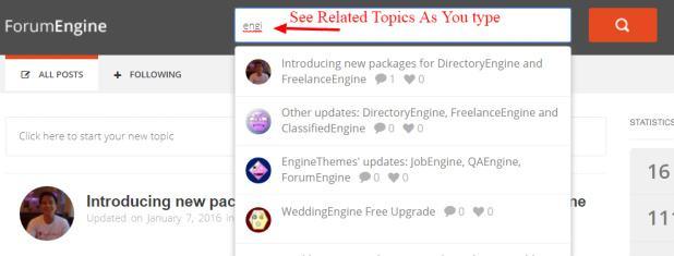 ForumEngine Ajax Search Forum Topics