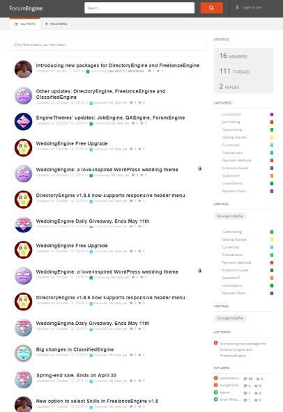 ForumEngine EngineThemes : Forum/Community WP Theme
