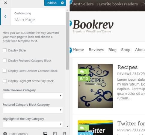 BookRev Customizer Main Page Options