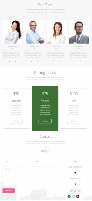 Advent - Price Table Testimonial Contact Sections