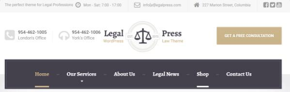 LegalPress Header Features