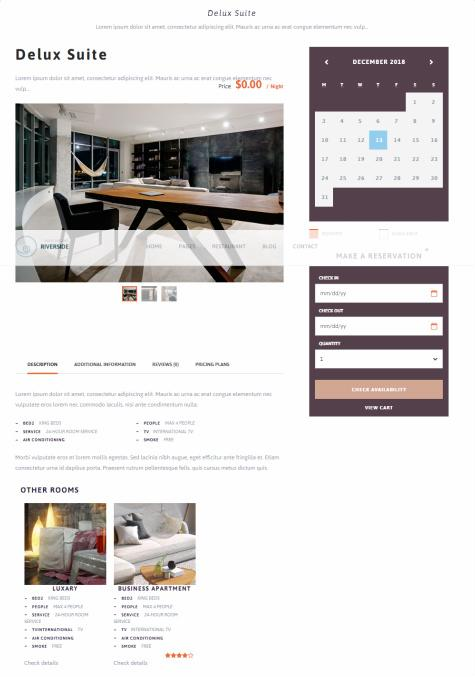 River Side Single Room Listing - Hotel Theme