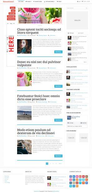 Sensational Mythemeshop : Magazine / blog WordPress Theme