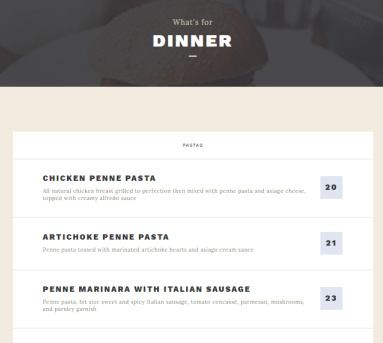 Belise Menu Page for Food Items